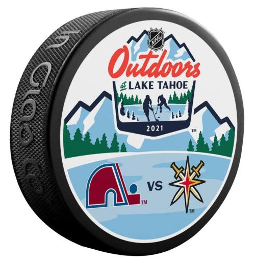 """2021 Lake Tahoe Outdoor Games official puck. Colorado Avalanche vs Vegas Golden Knights. """"Coming soon"""""""