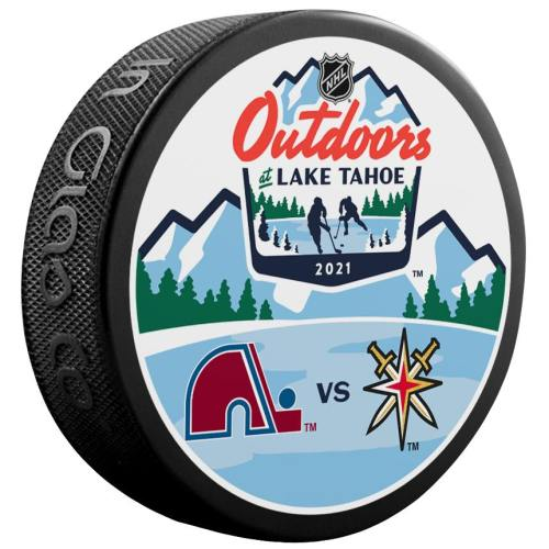 "2021 Lake Tahoe Outdoor Games official puck. Colorado Avalanche vs Vegas Golden Knights. ""Coming soon"""
