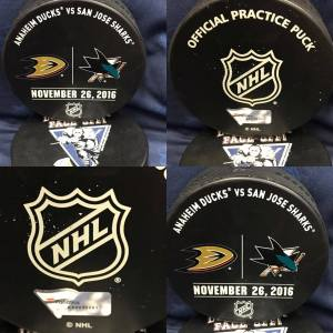 2016 San Jose Sharks vs Anaheim Ducks Official Used Warm Up Puck. 11-26-2016.