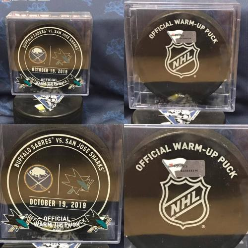 2019 San Jose Sharks vs Buffalo Sabres Official used Warm Up Puck. #AA0059316 11-19-2019.