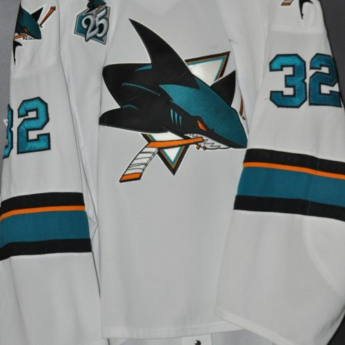 2015-16 San Jose Sharks Alex Stalock Game Worn jersey with 25 Anniversary patch. #32 Alex Stalock. Reebok. Size 58 G. Date Issued.  32-1 12/13/15 -2/27/16. Obtained from team.