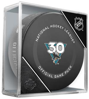 "2021 San Jose Sharks Official 30th Anniversary Game puck. ""Not Game Used"""