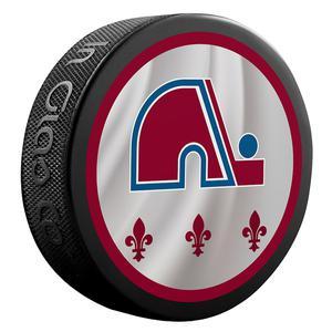 2021 Colorado Avalanche/Quebec Nordiques Official Retro jersey puck.