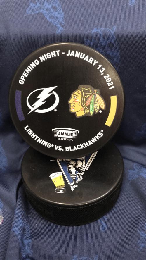 2021 January 13 2021 Limited Edition Opening night puck. Tampa Bay Lighting vs Chicago Blackhawks.