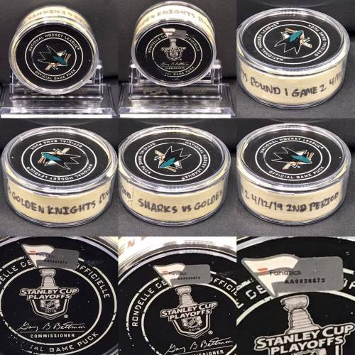 2019 San Jose Sharks Stanley Cup Playoffs. Round 1 Game 2 1st Period Game used puck . San Jose Sharks vs Vegas Golden Knights. #AA0026873