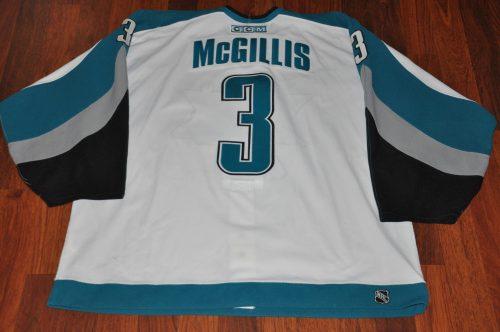 2002 San Jose Sharks #3 Dan Mc Gillis. # 3 San Jose Sharks Dan McGillis. Size 58. CCM White. Obtained from team. Shows heavy wear and sweet team repairs.