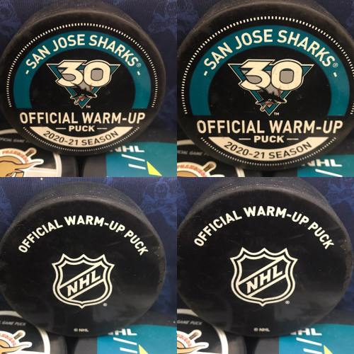 2020-01 San Jose Sharks Official Used Warm-Up Puck. 30th Anniversary Logo. Obtained from team.