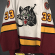 Chicago Wolves #33 Michael Garnett. White SP Air Knit. Size 58 G. This jersey exhibits excellent goalie game abuse and puck marks.
