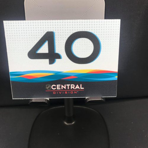 2019 San Jose All-Star Game Stick rack number plates. Central Division #40 Devin Dubnyk. These are the plates that the equipment managers used on the rack during all-star game for players sticks. Velcro on back.