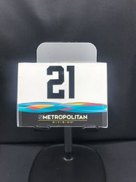 2019 San Jose All-Star Game Stick rack number plates. Metro Division #21 Kyle Palmieri These are the plates that the equipment managers used on the rack during all-star game for players sticks. Velcro on back.