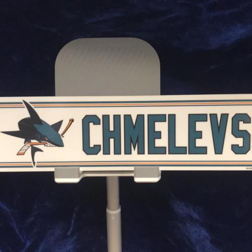 #55 San Jose Sharks Sasha Chmelevski Road Locker Room Nameplate.