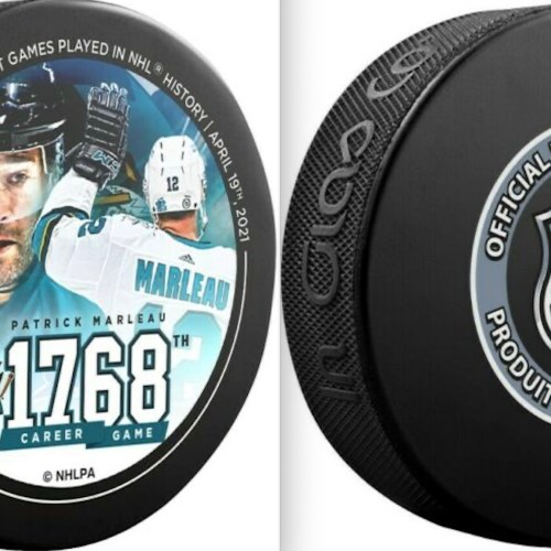 2021 San Jose Sharks #12 Patrick Marleau. 1768th Career Game / Most Games played In NHL History. Official NHL Licensed Product.