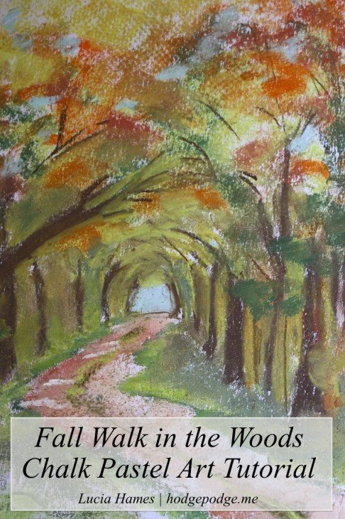 Fall Walk in the Woods Chalk Pastel Art Tutorial www.hodgepodge.me