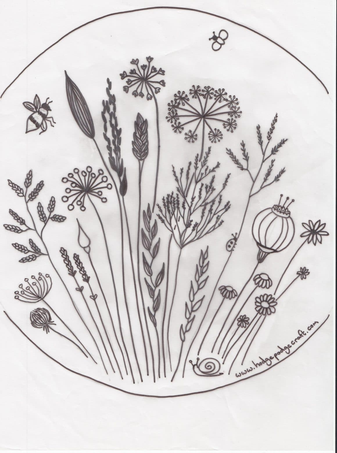 free floral meadow embroidery