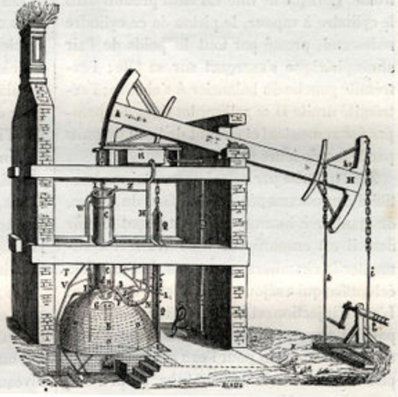 The Thomas Newcomen steam engine used for pumping water out of tin mines and coal mines