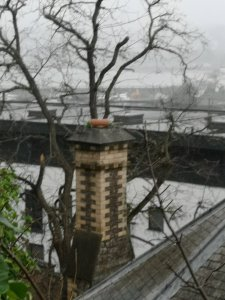 Overlooking Torquay Harbour. Hodgsons Chimney Sweeps prerparing to undertake work to this worn church chimney stack.