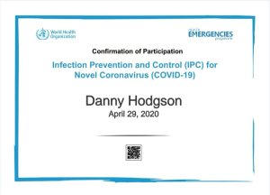 Mr Danny Hodgson, torbay chimney sweep Qualified in Covid-19 infection control by the WHO