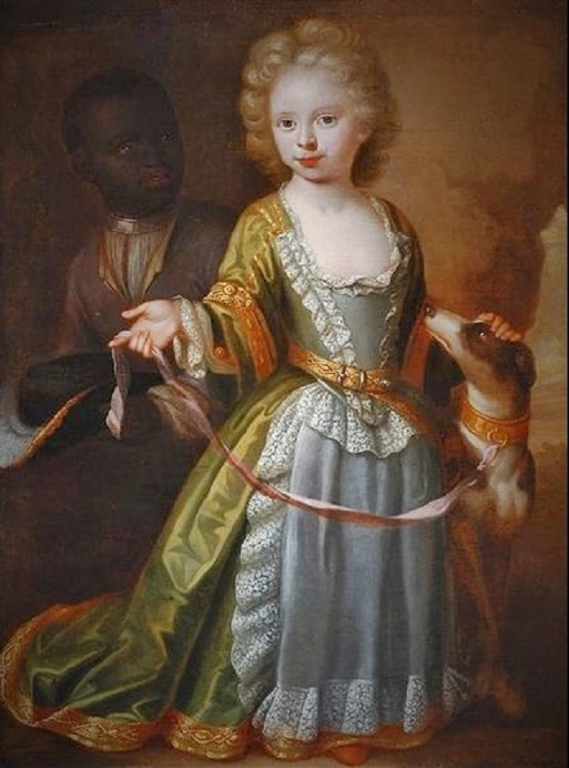 1708 Dutch Girl with a Dog and Page Boy (with Collar) by Dutch artist Philip Vilain