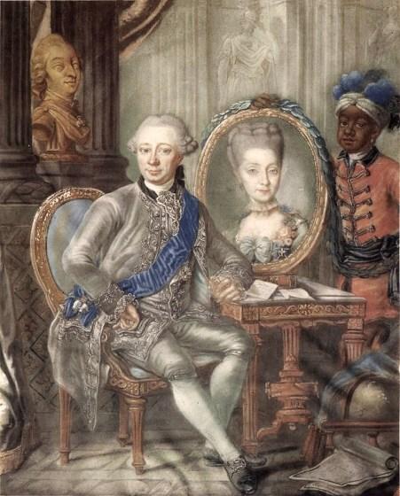 1773 Lorenz Lonberg. Portrait of Heinrich Carl Schimmelmann with the portrait of his wife Caroline Tugendreich