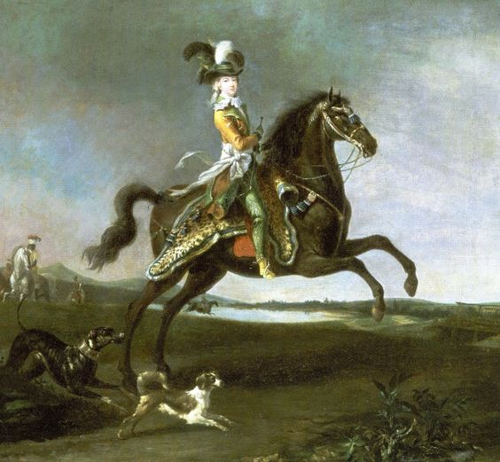 1783 Equestrian portrait of Marie Antoinette in hunting attire by Louis-Auguste Brun
