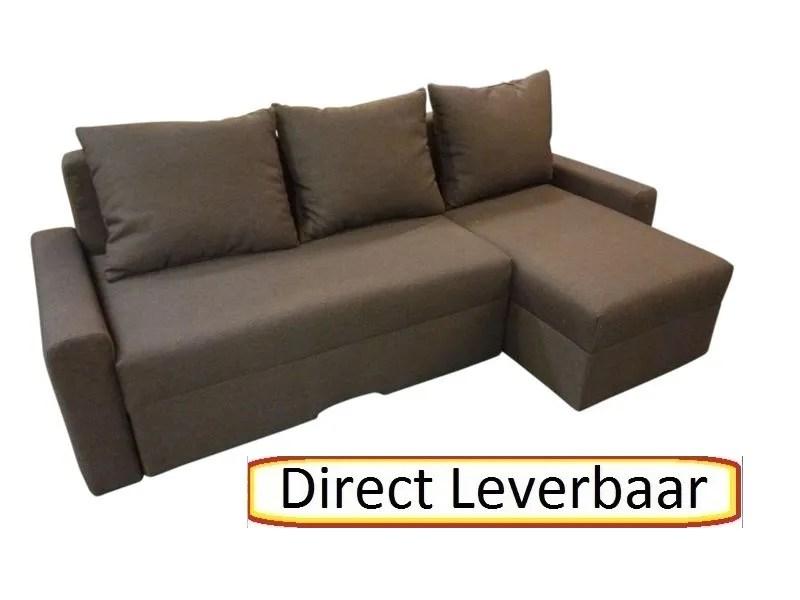 Tween lounge slaapbank bruin stof met opbergvak