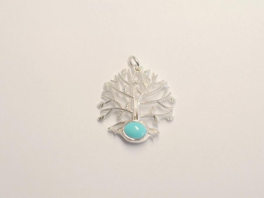 Lebensbaum Anhnger aus 925 Silber mit Trkis