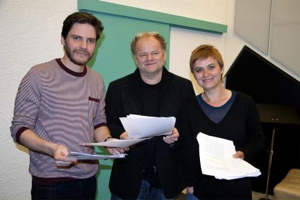 Daniel Brühl, Gottfried Breitfuß und Linda Olsansky bei den Aufnahmen zur
