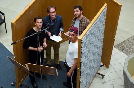 V.l.n.r.: Florian Anderer, Erik Rastetter, David Bosnjak, Dario Krosely; Bild: SWR / Monika Maier