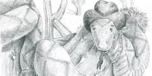 """Bleistift Illustration zum Zungenbrecher """"Die Klapperschlange klappert bis ihr Klapper schlapper klang"""" Eine Klapperschlange mit Cowboy-Hut hat sich um ein Kaktus geschlängelt. Im Hintergrund wächst ein Kaktus in Form eines 'K's"""