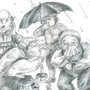 Tongue twister illustration of seven giants in a rain storm.
