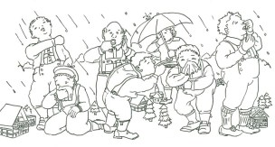 Seven Giants Sneeze Picture to Color is an illustration based on a German tongue twister: Sieben Riesen niesen weil die Nieselwinde bliesen. Liesen die Winde das Nieseln, dann würden die Riesen nicht niesen. Meaning: Seven giants are sneezing because the rainy winds are blowing. If the winds would stop their drizzling then the giants would stop their sneezing.