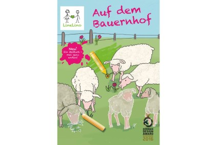 LineLino Auf dem Bauernhof – a special learn to draw and color book, nominated for the German Design Award 2016. This image shows the cover with 4 sheep and 2 lambs in various stages of being drawn or colored.