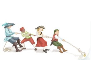 Pirate and children pirates pull to turn a page in my Pirate Party Planner. They can't wait to read the recipes in it. There is one adult pirate dressed in grey and blue and three children in this illustration. The first child is dark skinned wearing a green and white striped shirt and red knickers. The next one is a scruffy blond girl in a red skirt and pirate hat. The third is a light skinned red haired boy dressed in red and olive green.