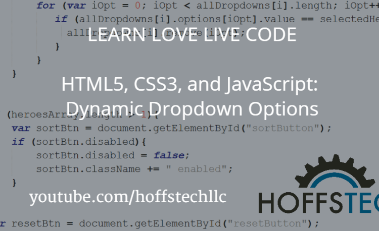 HTML5, CSS3, and JavaScript: Dynamic Dropdown Options