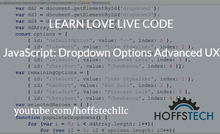 Javascipt: Dropdown Options Advanced UX