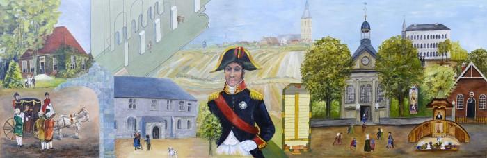Paneel 2 1800-1900 Twickelhuis voor 1750, later pastorie. In de deuropening de grootmoeder van Wilhelmien van der Toorn-Olthof.  Dwarsdoorsnede van de Plechelmuskerk in 1795, toen de Engelse troepen o.l.v. de hertog van York de kerk bezetten en paarden stalden in de noorder zijbeuk, de 'peerdenhook'. Ook werd er een militair hospitaal ingericht.  Zittend in zijn koets geeft koning Lodewijk Napoleon op 8 maart 1809 het bevel dat de Plechelmuskerk terug moet naar de katholieken. Hij geeft de protestanten 7770 gulden om een kerkje te bouwen (een Waterstaatskerk).  De Romaanse zijbeuk van de Plechelmuskerk met daarboven de ruimte voor de 3 lokalen van de Latijnse school.   Lodewijk Napoleon, van 1806 tot 1810 koning van het Koninkrijk Holland, broer van de Franse keizer.   Oldenzaal, ± 1802.  Plattegrond Waterstaatskerk.  Waterstaatskerk met daarnaast bewaarschool.  Sint Agnesklooster, waar in de 18e eeuw enige tijd predikan-ten onderdak vonden en Gelderman in 1817 zijn eerste textielfabriekje begon.  Preekstoel uit de Waterstaatskerk verkocht aan de gemeente Okkenbroek nabij Holten.