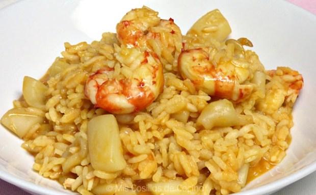 arroz meloso con sepia y gambas