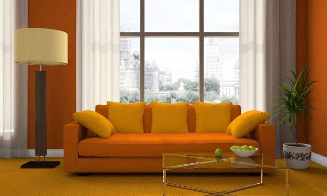 Combinar un sof naranja en un saln  Hogarmania