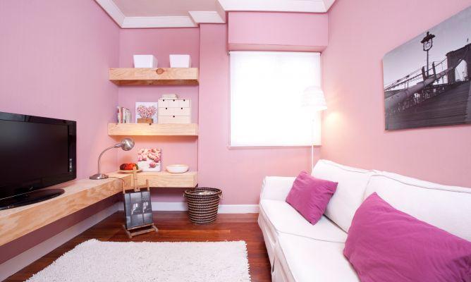 Decorar una sala pequea en color rosa  Decogarden