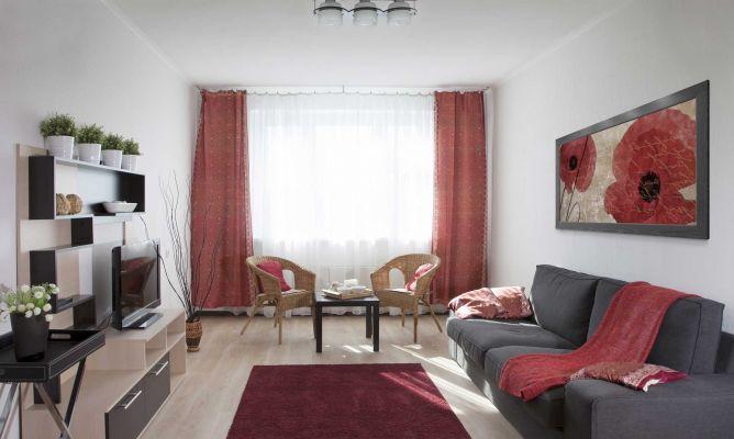 Sala de color rojo gris y beige  Hogarmania