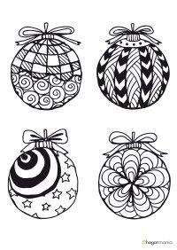 Dibujos de bolas de Navidad para imprimir y colorear - 1