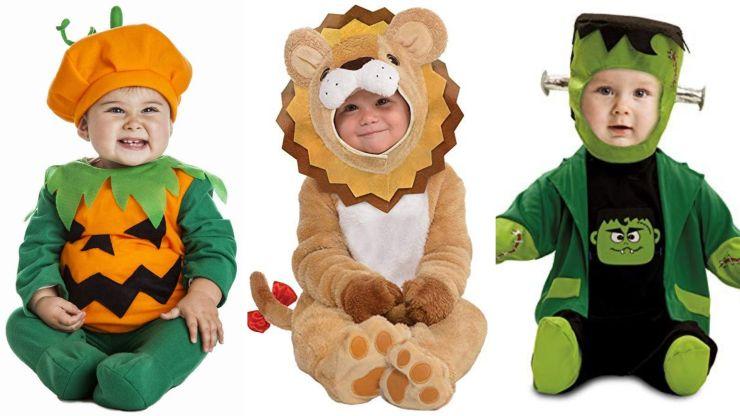 Costumes for babies of pumpkin, lion or Frankenstein.