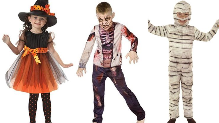 Costumes for kids of witch, mummy and zombie.