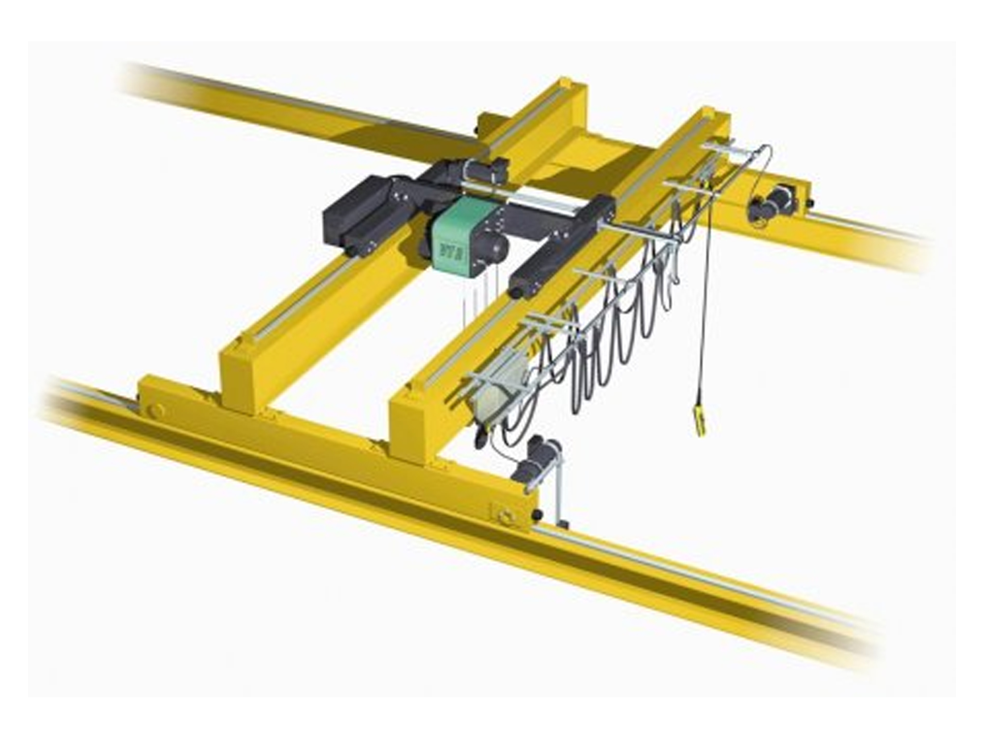 hight resolution of double girder overhead crane top running with wire rope hoist