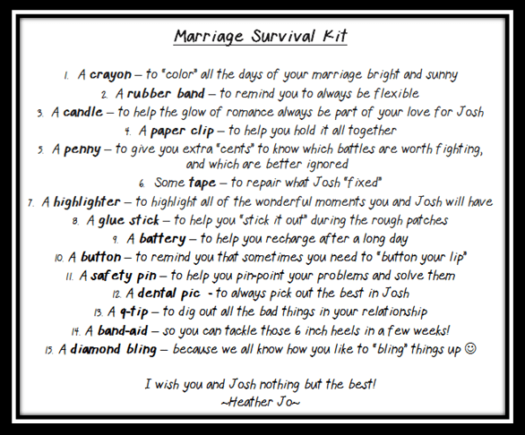 Wedding Shower Gift - Marriage Survival Kit - HoJo\'s Life Adventures