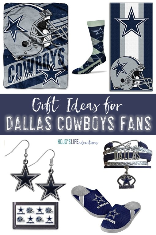 On the lookout for gift ideas for Dallas Cowboys fans? Then you're going to love this list! Women of all ages will love the jewelry, while both men and women can appreciate the socks, jerseys, slippers, and more! These make great birthday or Christmas gifts, but really you can use them at ANY time of year - but especially during the Dallas Cowboys season!