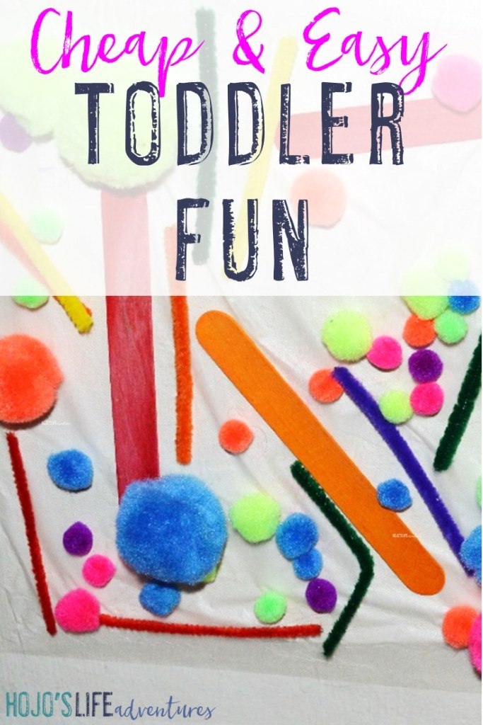 "Are you on the lookout for some cheap, easy toddler fun? This easy ""stick em"" game is a hit! Grab some press & seal wrap and some light things to stick to it. Put the press and seal up with packaging tape, and your toddler will be set for hours!"