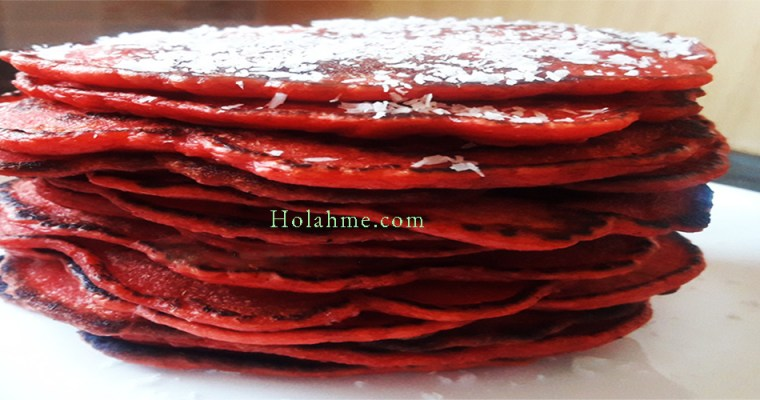 APPLE SAUCE RED VELVET PANCAKES