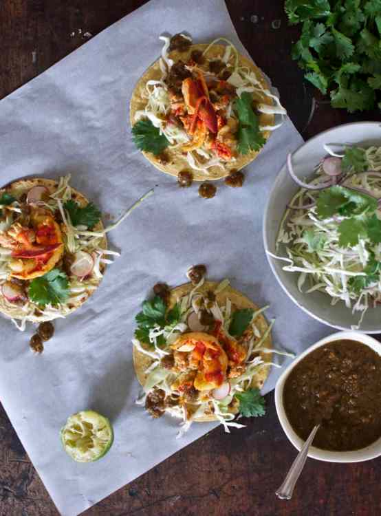 Lobster Tacos with Toasted Ancho Chile Salsa