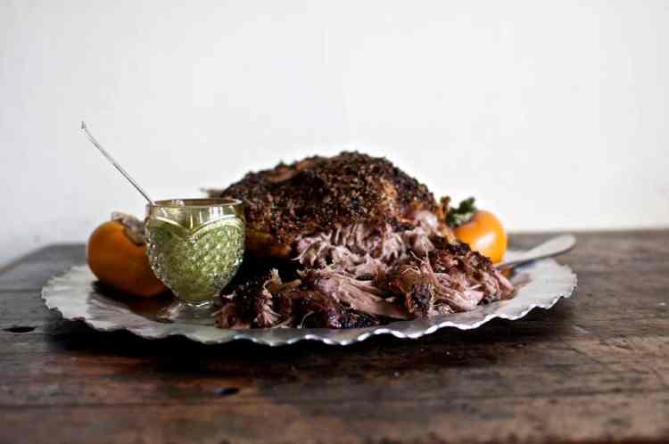 Slow Roasted Pork Shoulder with Cilantro Sauce